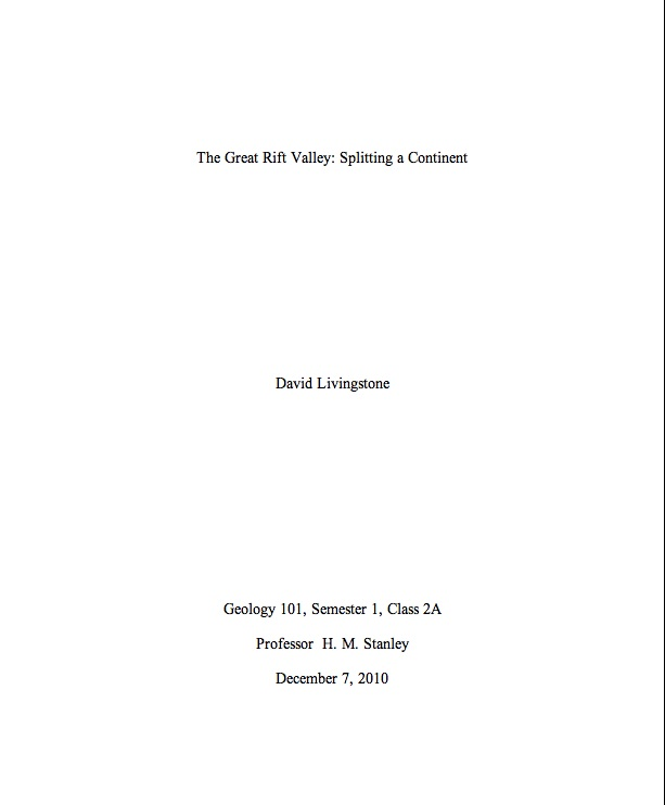 Title page for essay